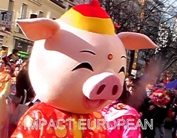 The ground pig accommodated by a procession in Chinatown Parisian