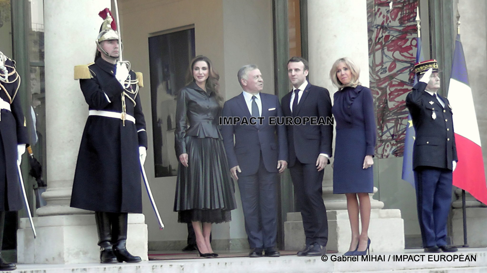Emmanuel and Brigitte Macron received at the Elysee Palace King Abdullah II and Rania from Jordan on a five-day tour